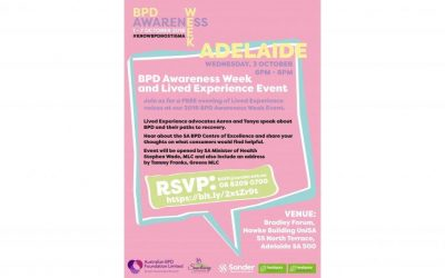 Opening Event – BPD Awareness Week – 3 October 2018