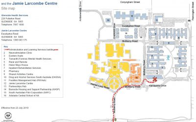 Map showing Glenside Admin and Learning Services Building