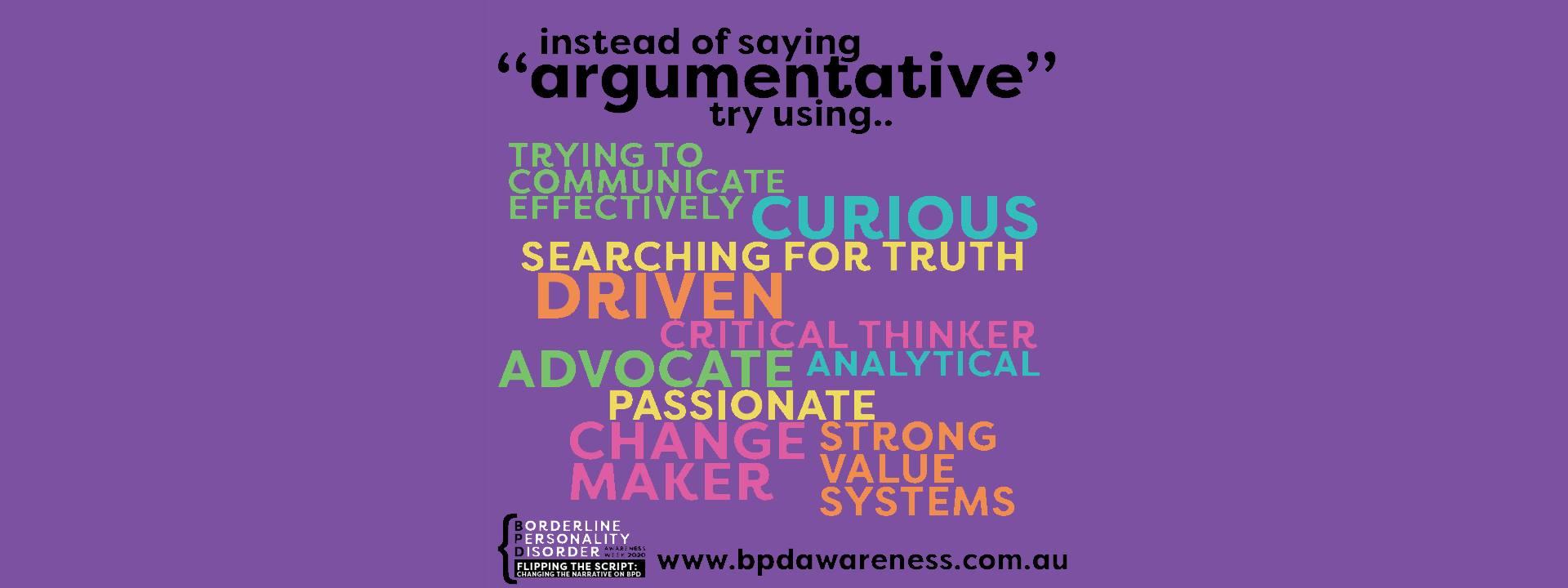 BPD Awareness Week - Not Argumentative